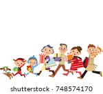 three generation families to... | Shutterstock .eps vector #748574170