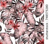 watercolor seamless pattern... | Shutterstock . vector #748575280