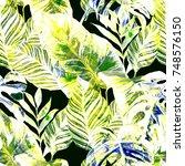 watercolor seamless pattern... | Shutterstock . vector #748576150