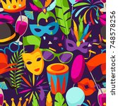 carnival party seamless pattern ... | Shutterstock .eps vector #748578256