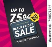 black friday sale vector banner ... | Shutterstock .eps vector #748578349