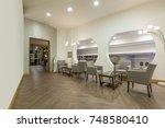 hotel lobby cafe interior | Shutterstock . vector #748580410