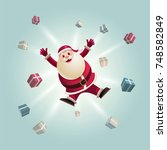 santa claus jumping with gift... | Shutterstock .eps vector #748582849