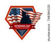 veterans day emblem. honoring...   Shutterstock .eps vector #748584220
