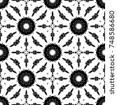 black  and white pattern with... | Shutterstock . vector #748586680