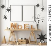 mock up of the christmas... | Shutterstock . vector #748595788