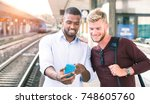 commuters at train station...   Shutterstock . vector #748605760