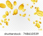 flying realistic coins  ... | Shutterstock .eps vector #748610539