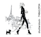 Fashion Girl In Sketch Style...
