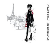 fashion girl in sketch style on ...   Shutterstock .eps vector #748612960