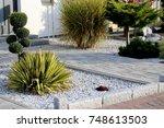 modern front garden on a... | Shutterstock . vector #748613503