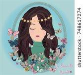 romantic girl illustration with ... | Shutterstock .eps vector #748617274