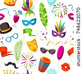 carnival party seamless pattern ... | Shutterstock .eps vector #748623070