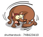 a cartoon dog chasing its tail. | Shutterstock . vector #748623610