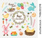 nice easter set with cute hand... | Shutterstock .eps vector #748630198