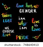 gay pride slogan with hand... | Shutterstock .eps vector #748640413