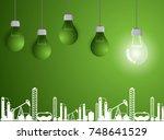 light bulb business on green...   Shutterstock .eps vector #748641529