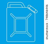 jerrycan icon blue outline... | Shutterstock . vector #748646446