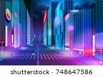 night street with neon lights... | Shutterstock .eps vector #748647586