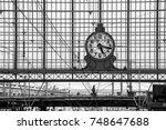 classic train station clock... | Shutterstock . vector #748647688