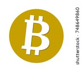 bitcoin icon. flat design.... | Shutterstock .eps vector #748649860