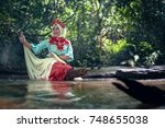 pahang  malaysia  malay woman... | Shutterstock . vector #748655038