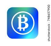 bitcoin icon. button. blue and... | Shutterstock .eps vector #748657900