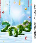 new year 2018 of christmas tree ...   Shutterstock . vector #748659499