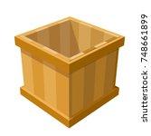 cartoon wooden box on a white... | Shutterstock .eps vector #748661899