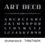 vector of art deco font and... | Shutterstock .eps vector #748674604