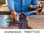 ultrasonic test to detect...   Shutterstock . vector #748677133