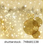 winter merry christmas golden... | Shutterstock .eps vector #748681138