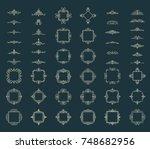huge rosette wicker border... | Shutterstock .eps vector #748682956