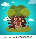 tree house. vector illustration. | Shutterstock .eps vector #748686010