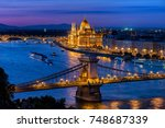 budapest city at blue hour with ... | Shutterstock . vector #748687339