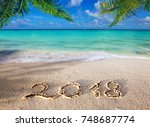 new year 2018 inscription... | Shutterstock . vector #748687774
