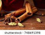 autumn warming drink. hot... | Shutterstock . vector #748691398