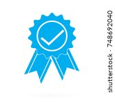 approved or certified medal... | Shutterstock .eps vector #748692040