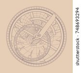 the astrolabe in a contour image | Shutterstock .eps vector #748693294
