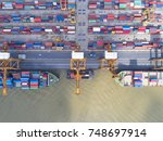 container container ship in... | Shutterstock . vector #748697914