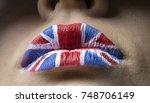 lips british flag painted... | Shutterstock . vector #748706149