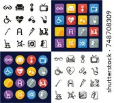 senior people all in one icons... | Shutterstock .eps vector #748708309
