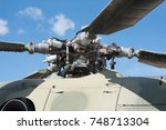 military helicopter rotor blade ... | Shutterstock . vector #748713304