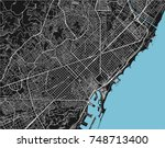 black and white vector city map ... | Shutterstock .eps vector #748713400