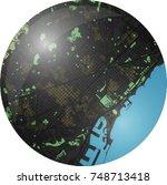 barcelona vector map with dark... | Shutterstock .eps vector #748713418