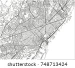 black and white vector city map ... | Shutterstock .eps vector #748713424