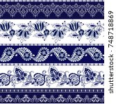 set of lace bohemian seamless... | Shutterstock .eps vector #748718869