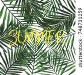 tropical hawaii leaves pattern... | Shutterstock . vector #748731259
