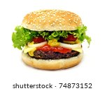 a cheeseburger isolated on a... | Shutterstock . vector #74873152