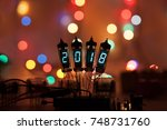 happy new year is written with... | Shutterstock . vector #748731760